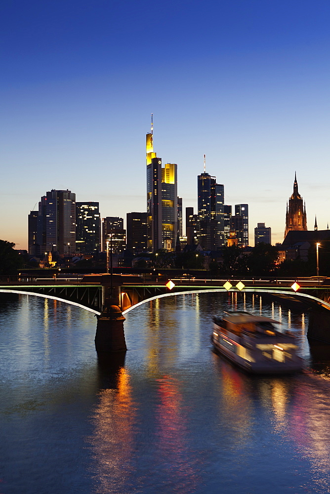 View of Ignatz Bubis bridge, Cathedral and Skyline in Frankfurt, Germany