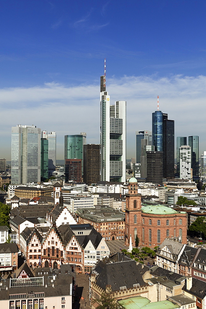 View of skyline of Frankfurt, Hesse, Germany