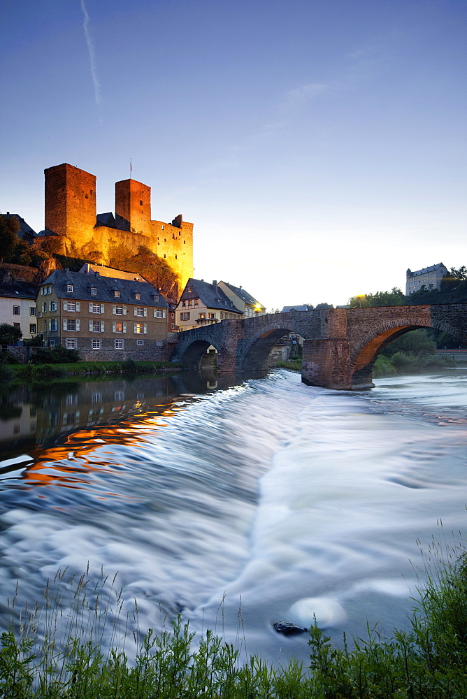 View of Lahn Bridge and Runkel Castle in Runkel, Hesse, Germany