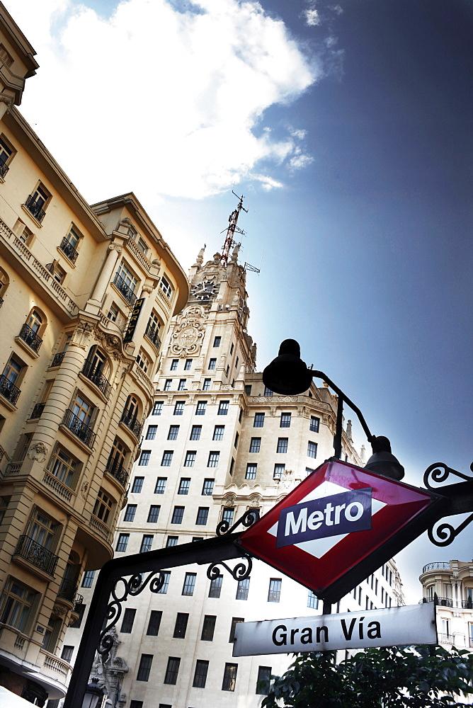 Entrance to Metro, Gran Via, Madrid, Spain