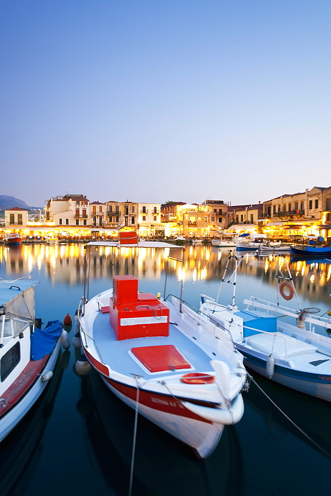 Boats moored on harbour at Rethymnon, Crete, Greek