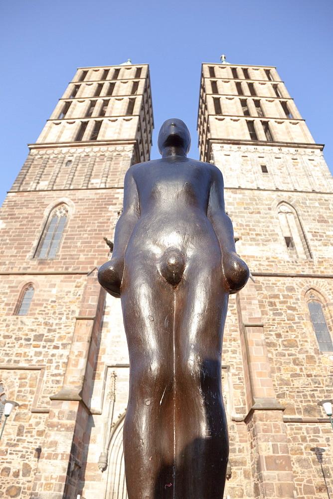 Upward view of sculpture at Martin Church, Kassel, Hesse, Germany