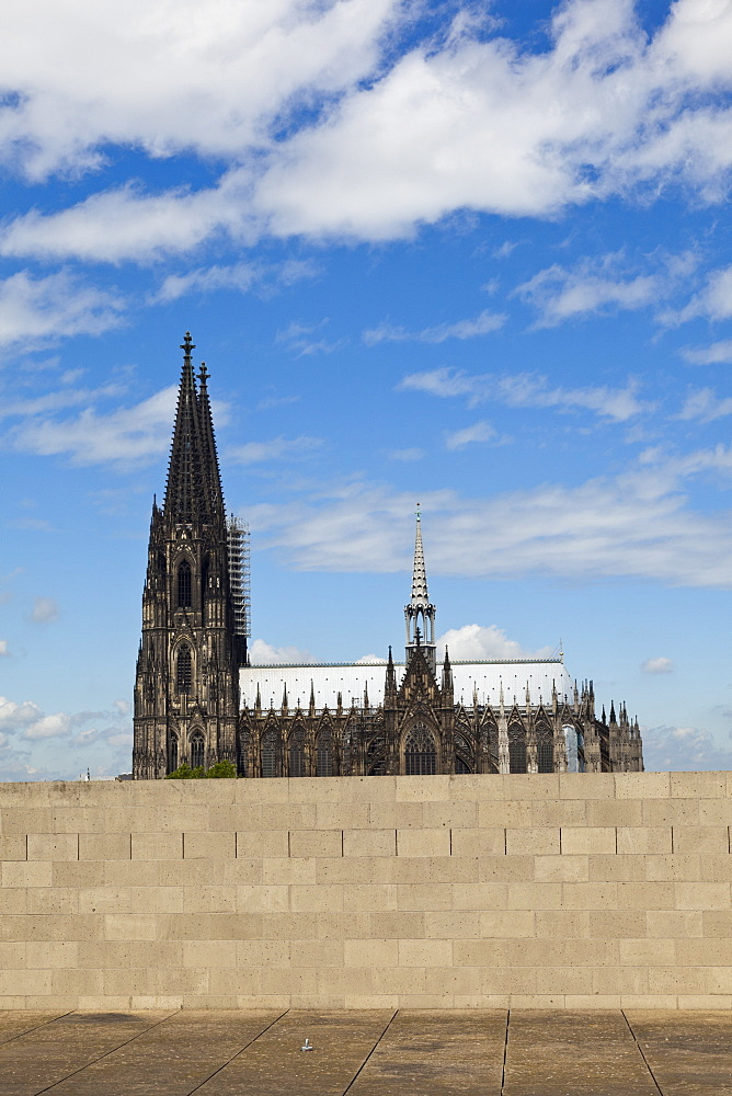 View of wall in front of Cathedral, Cologne, Germany
