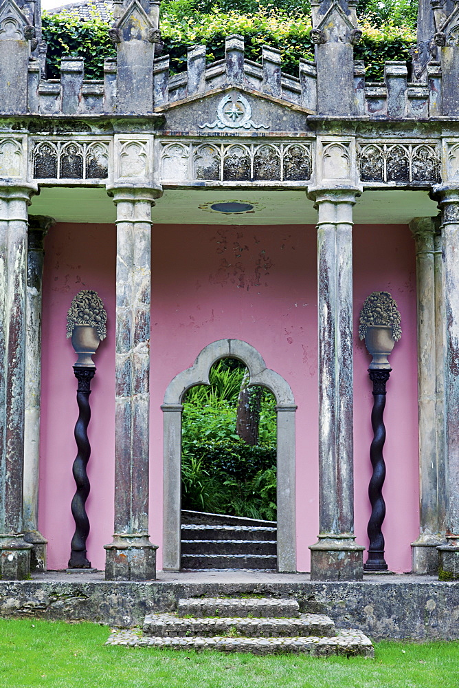 The Gothic Pavilion at Portmeirion village in Gwynedd, Wales, UK