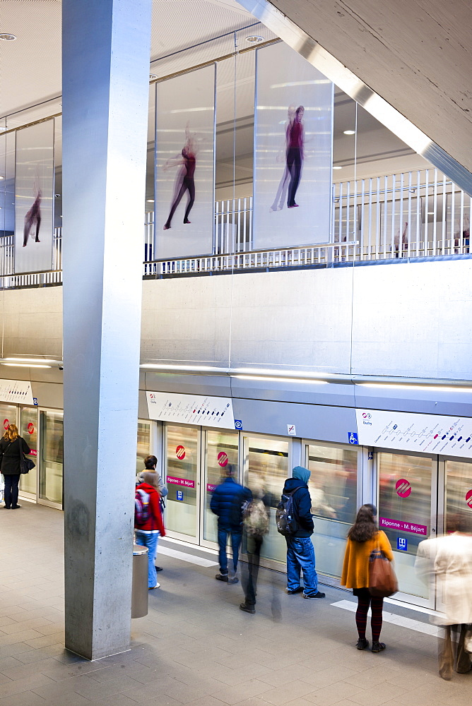 People at metro railway station in Lausanne, Canton of Vaud, Switzerland