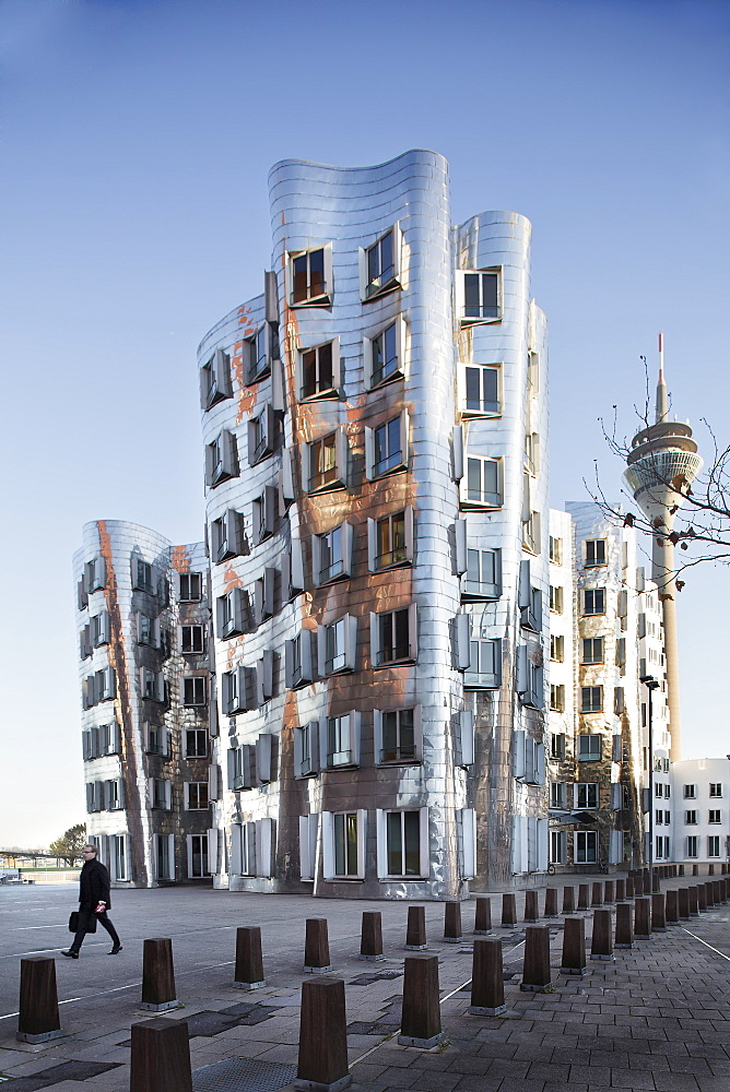 Dancing office towers in New Zollhof, Dusseldorf, Germany