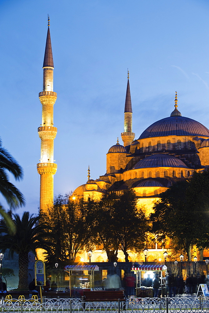 Sultan Ahmet Mosque at dusk in Istanbul, Turkey
