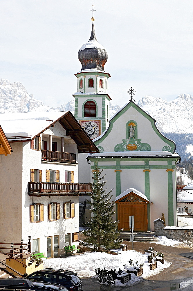 View of Hotel Ciasa Salares in the district Armentarola, San Cassiano, South Tyrol, Italy
