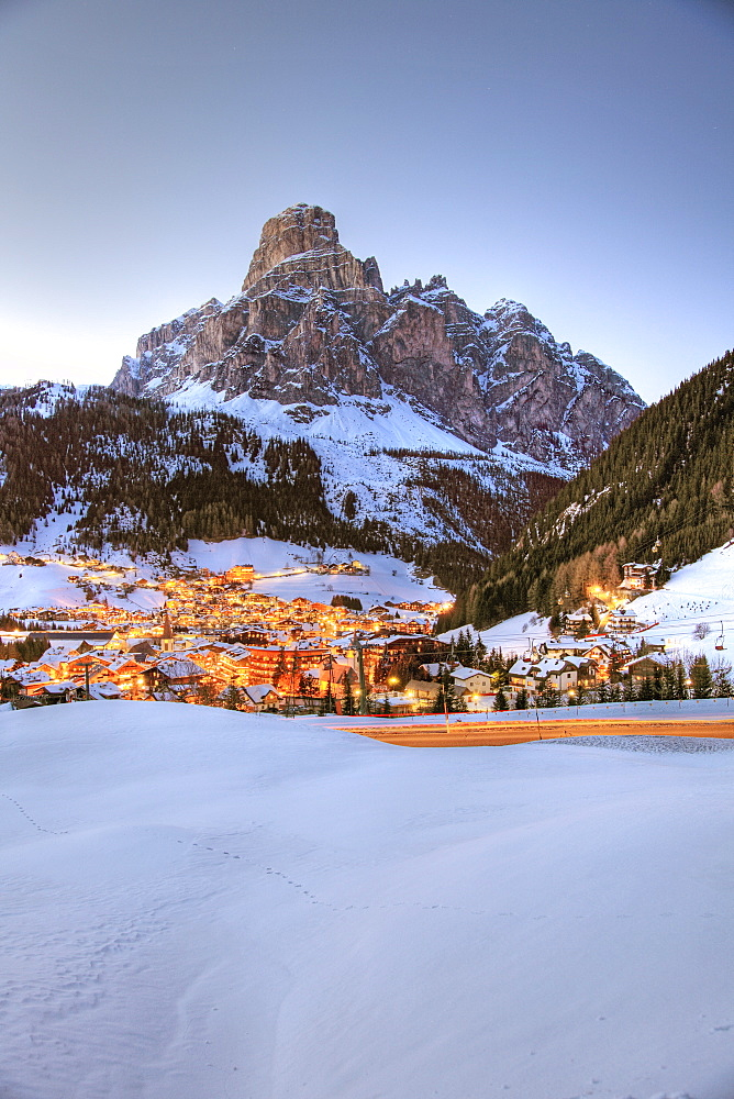 View of Alta Badia and Sassongher Dolomites, Corvara, South Tyrol, Italy