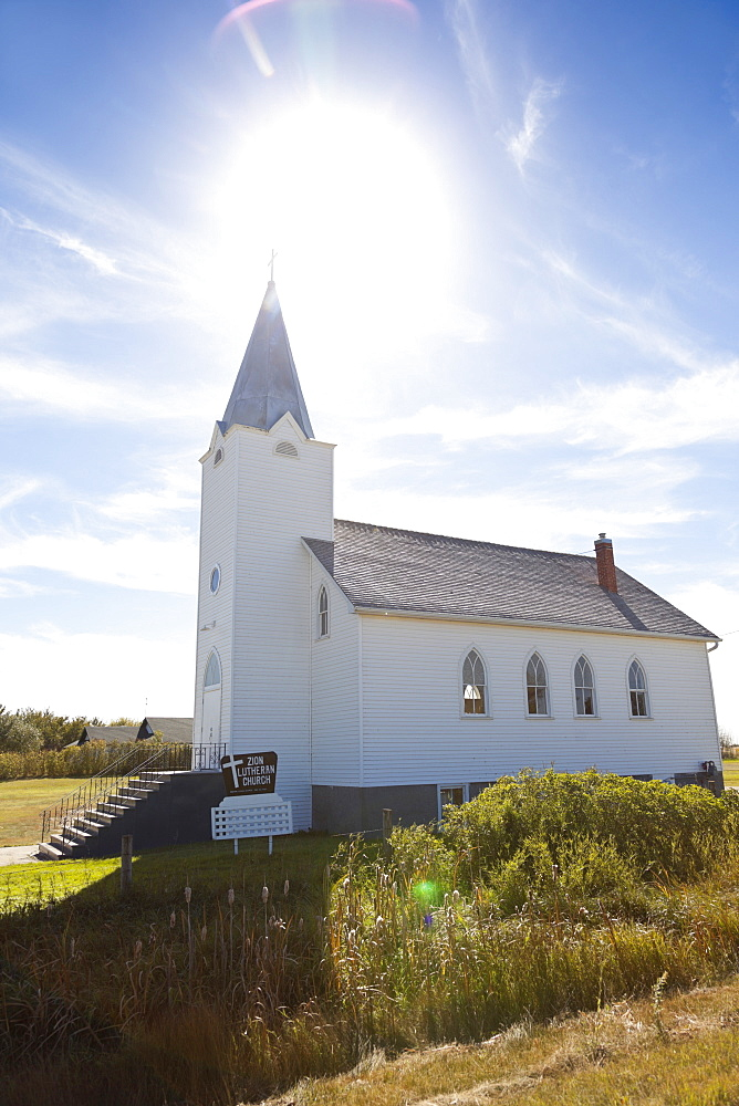 View of white church along Highway 731, Saskatchewan, Canada