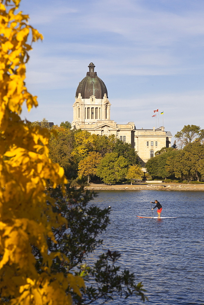 View of Legislative Assembly and  Wascana Lake in Regina, Saskatchewan, Canada