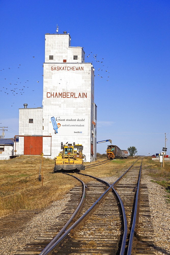 View of granary and railway line in Chamberlain, Saskatchewan, Canada