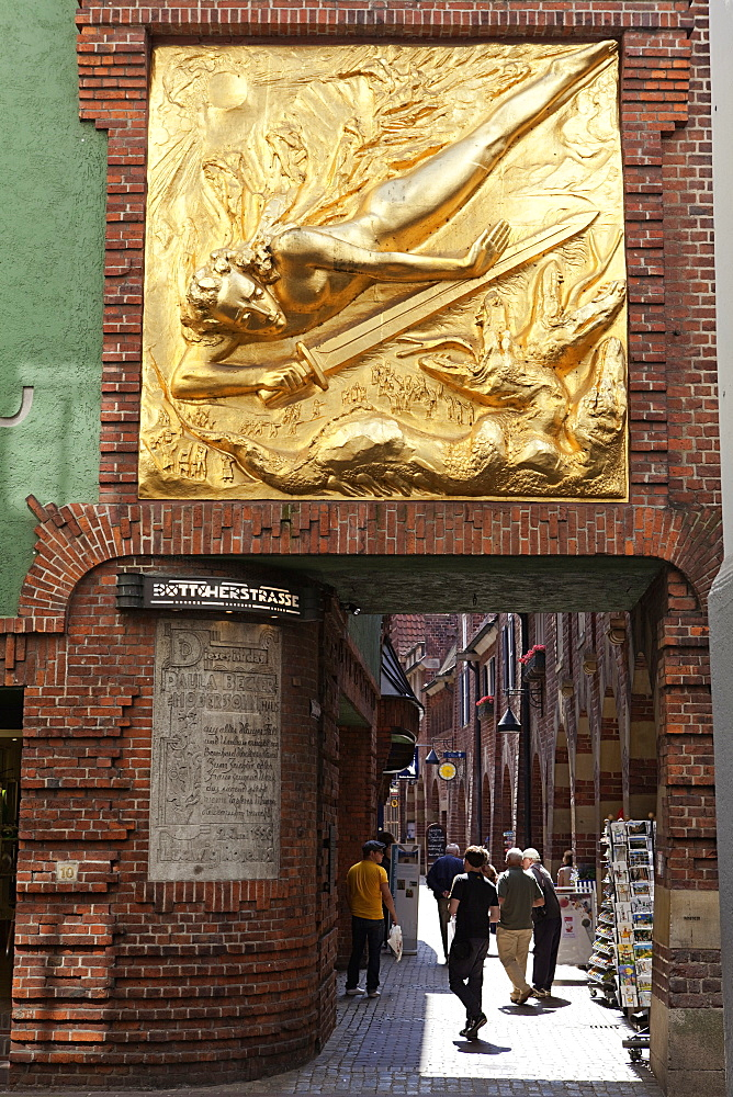Golden Artwork at Entrance to Bottcherstrasse, Bremen, Germany
