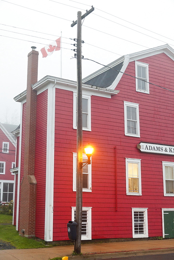 Facade of red house in Lunenburg, Nova Scotia, Canada