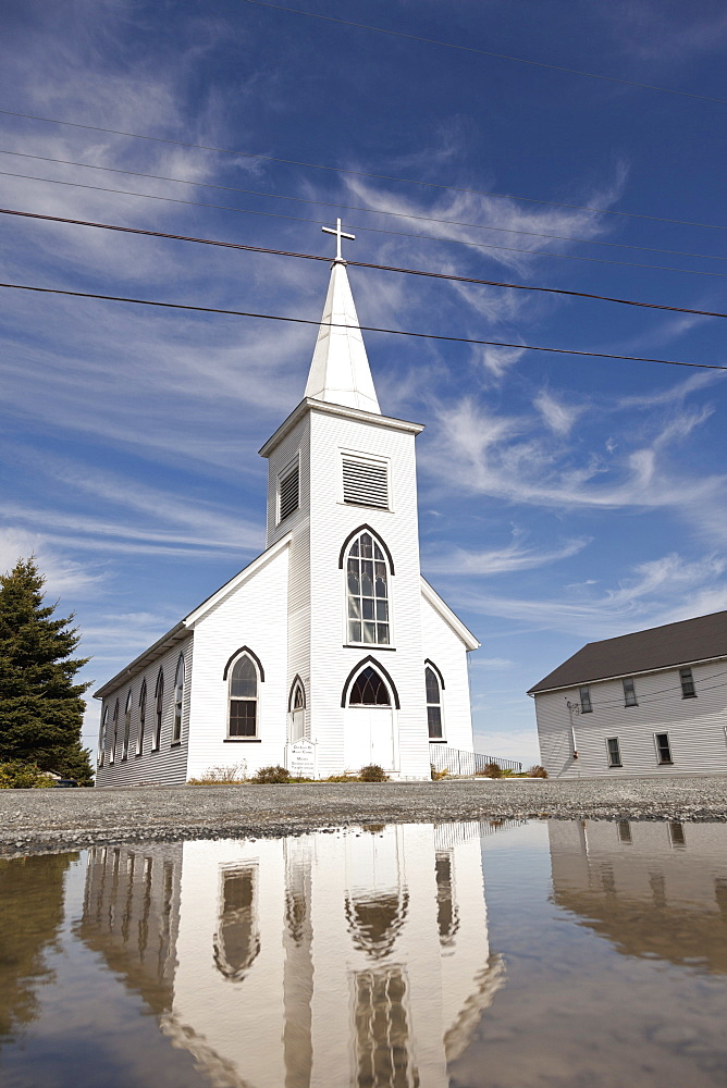 View of white church near Halifax, Prospect Bay, Nova Scotia, Canada