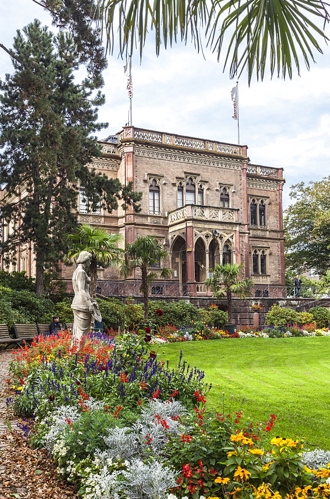 View of Colombi park with Colombi castle in Freiburg, Germany