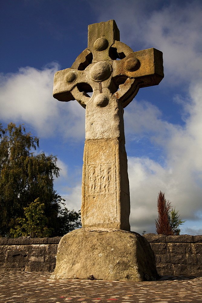 Low angle view of Celtic Cross, Ireland, UK