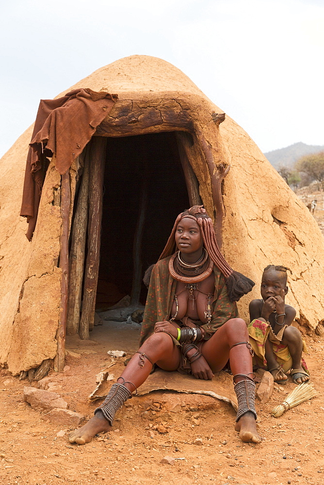 A mother and child in a Himba village, indigenous tribe, Kunene, Namibia