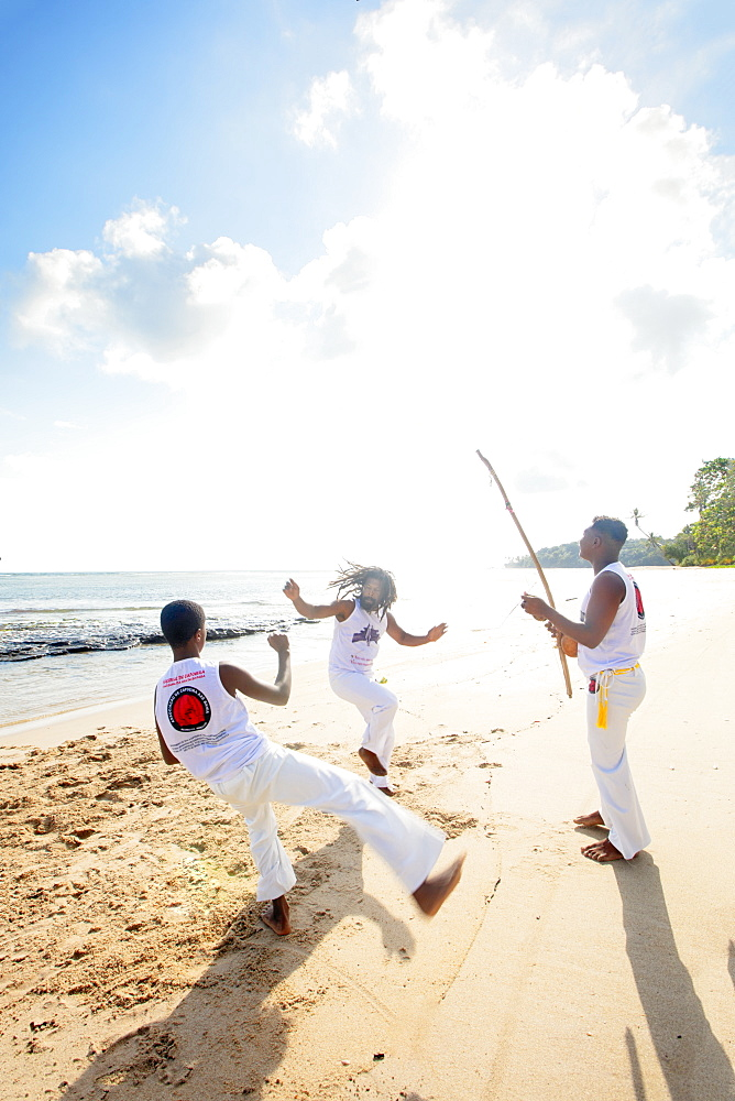 South America, Brazil, Tinhare, Boipeba island, Local people playing capoeira on the beach - 1176-1000