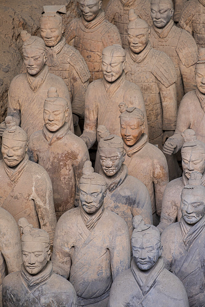 The Terracotta Warriors (Terracotta Army), the funerary army of Emperor Qin Shi Huang in Xian Museum, UNESCO World Heritage Site, Xian, Shaanxi, China, Asia