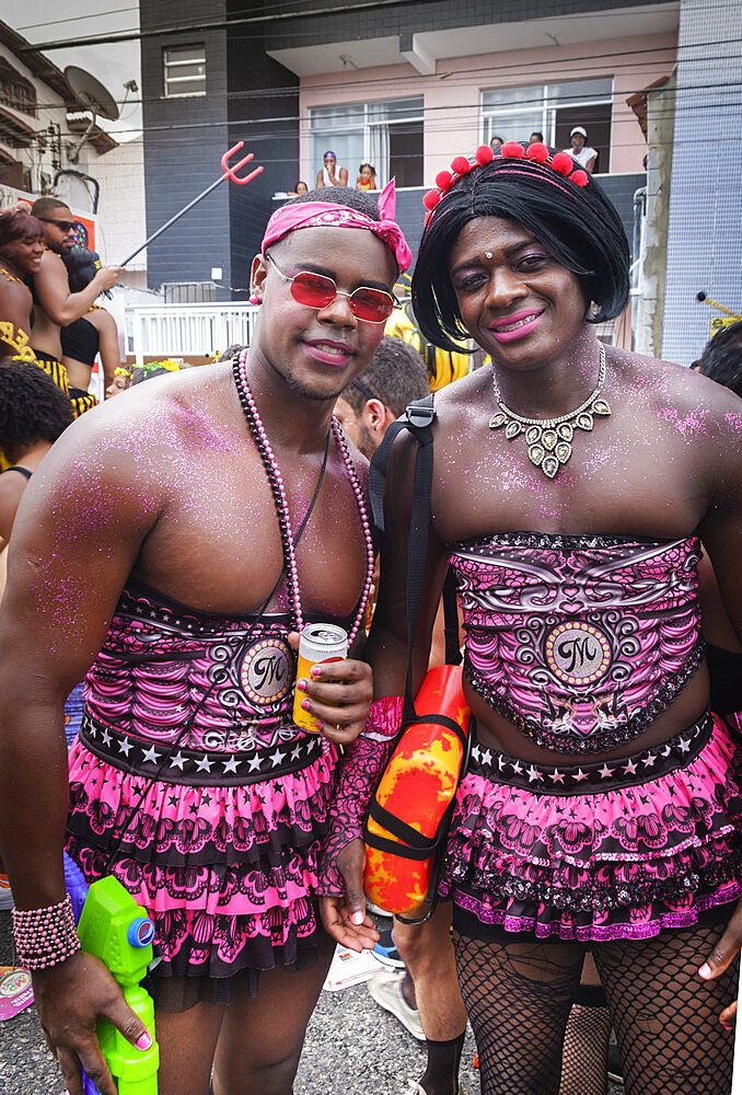 Young men dressed in costume for carnival, Salvador