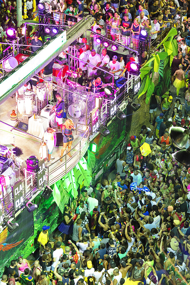 A crowd around a trio electric bloco during Salvador's carnival parade, Salvador, Bahia, Brazil, South America