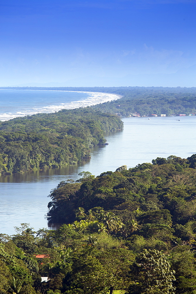 View of rainforest, beach and rivers in Tortuguero National Park, Limon, Costa Rica, Central America