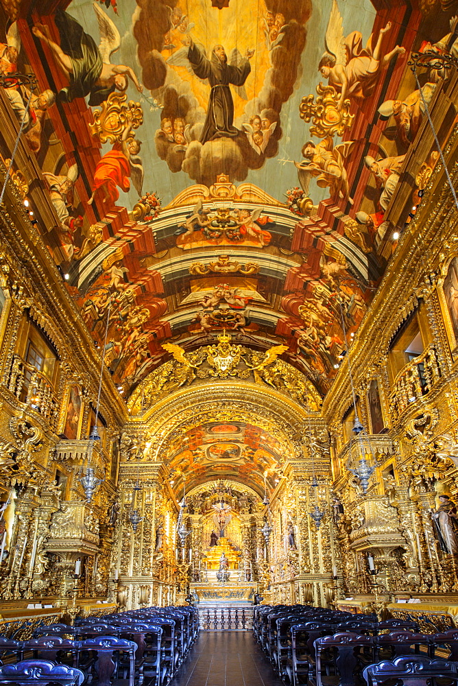 Baroque interior of the church of Order of St. Francis of Penitence (Ordem Terceira Sao Francisco Penitencia) by Xavier de Brito, Rio de Janeiro, Brazil, South America