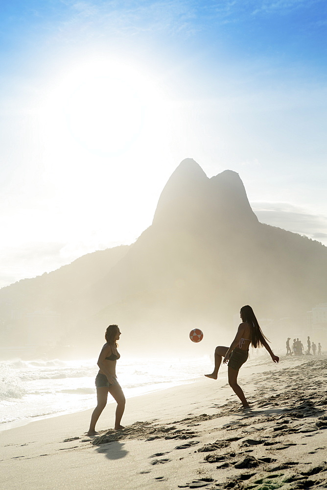 Women playing altinha (football) on Ipanema beach, Rio de Janeiro, Brazil, South America - 1176-263
