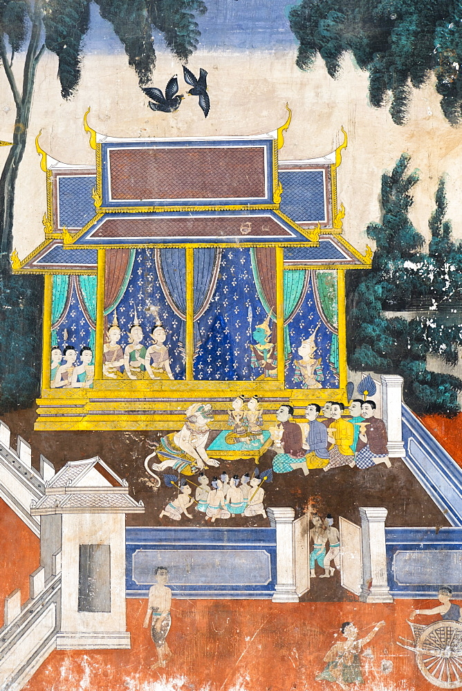 Detail from the Reamker murals (Khmer version of the Ramayana), Royal Palace, Phnom Penh, Cambodia, Southeast Asia