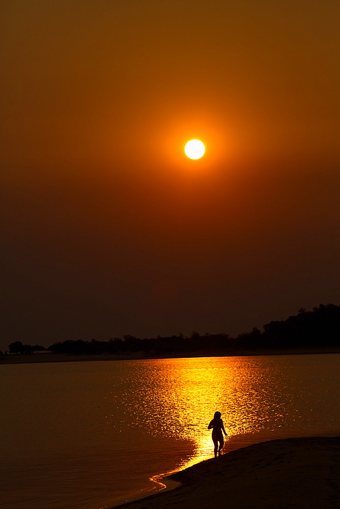 Sunset over the Tapajos river, Amazon, Alter do Chao, Para, Brazil, South America
