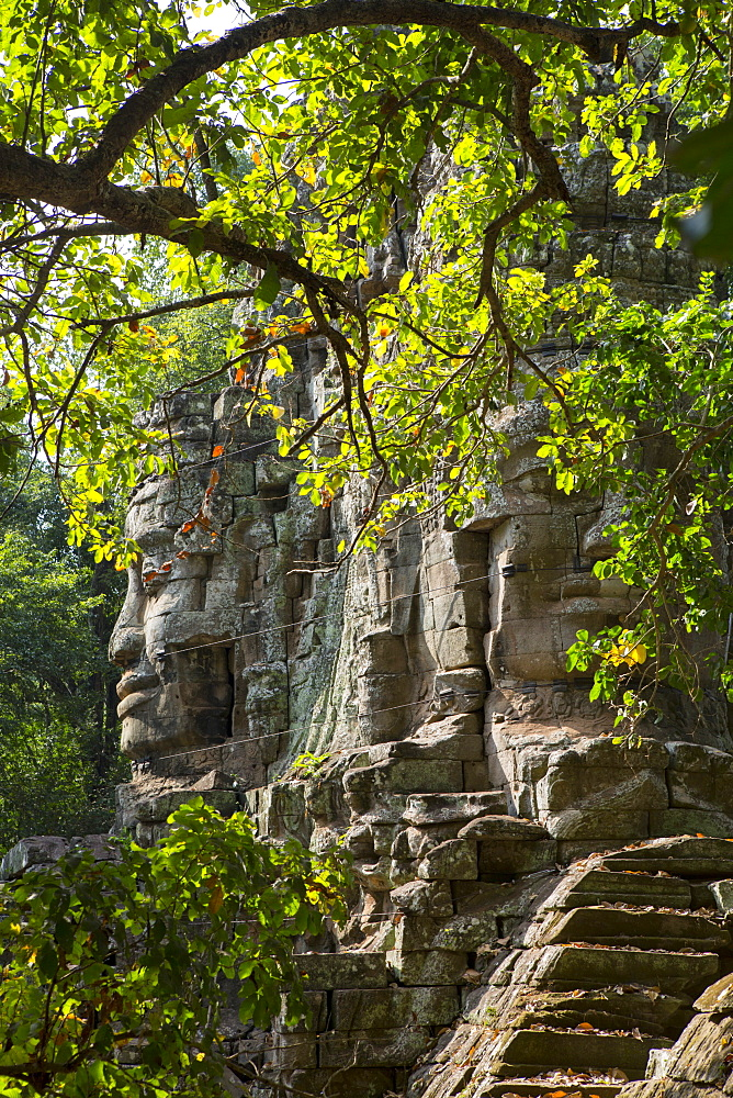 Buddha face on the Western Gate of Angkor Thom, Siem Reap, Cambodia, Southeast Asia