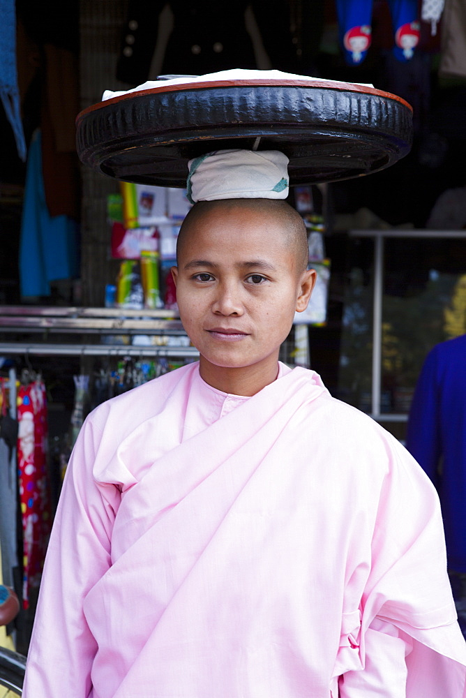 Buddhist nun in traditional robes, Monywa, Sagaing, Myanmar, Southeast Asia