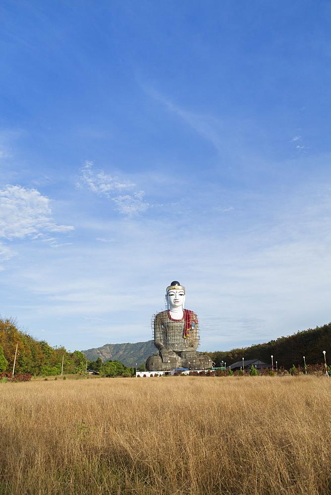 Lettet sitting buddha under construction, Mon, Myanmar (Burma), Southeast Asia