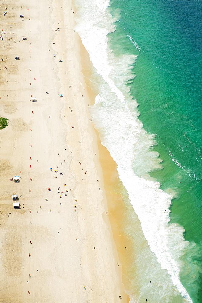 Aerial of Ipanema Beach, Rio de Janeiro, Brazil, South America