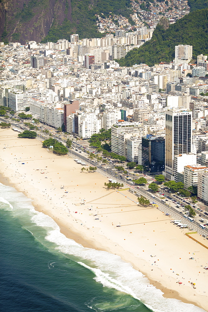 Aerial view of Copacabana Beach, Rio de Janeiro, Brazil, South America
