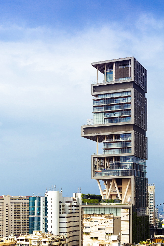 Antilia (Ambani building), the world's most expensive private home (to Mukesh Ambani) on Altamont Road, Mumbai (Bombay), Maharashtra, India, Asia