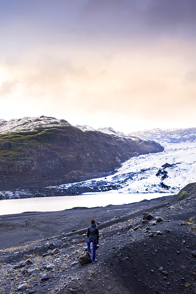 Hiker in front of the Vatnajokull glacier in Vatnajokull National Park in southeast Iceland, Polar Regions