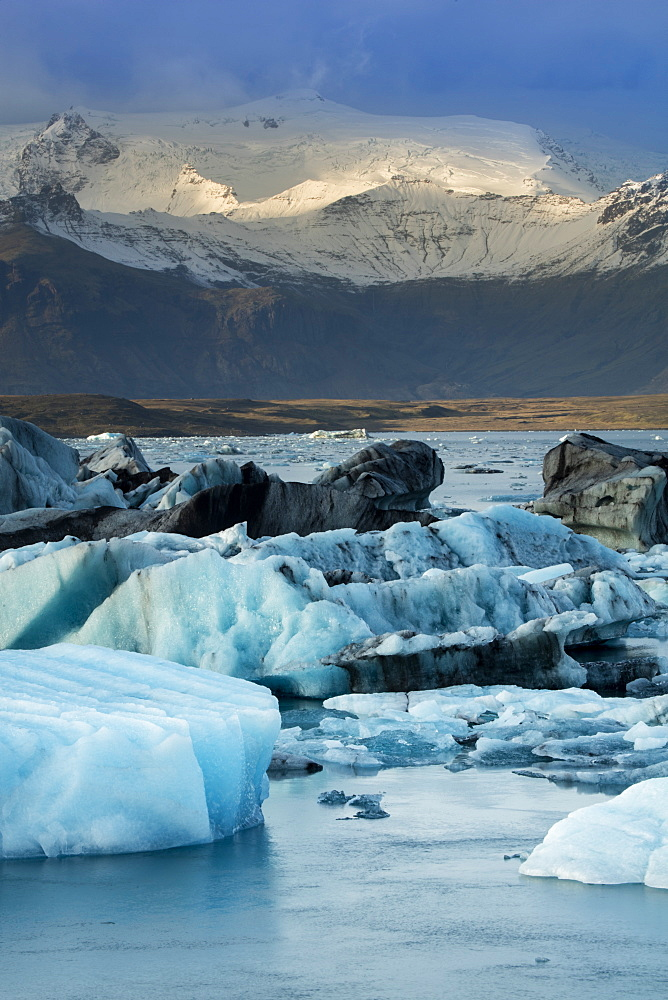 Icebergs in the Jokulsarlon glacial lake in Vatnajokull National Park in southeast Iceland, Polar Regions