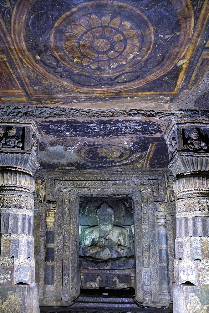Buddha statue and painting in the Ajanta Caves, UNESCO World Heritage Site, Maharashtra, India, Asia