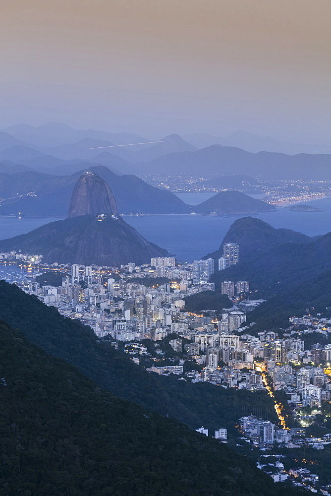 The Sugar Loaf and Rio de Janeiro landscape from Tijuca national park