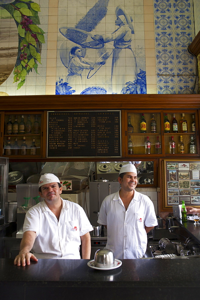 Waiters in a restaurant, Santos, Sao Paulo, Brazil, South America