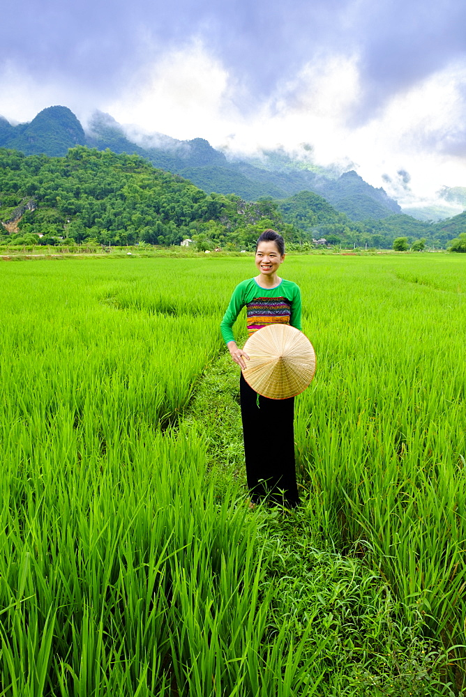 Local White Tai indigenous woman in traditional clothing standing in rice fields, Mai Chau, Hoa Binh, Vietnam, Indochina, Southeast Asia, Asia - 1176-839