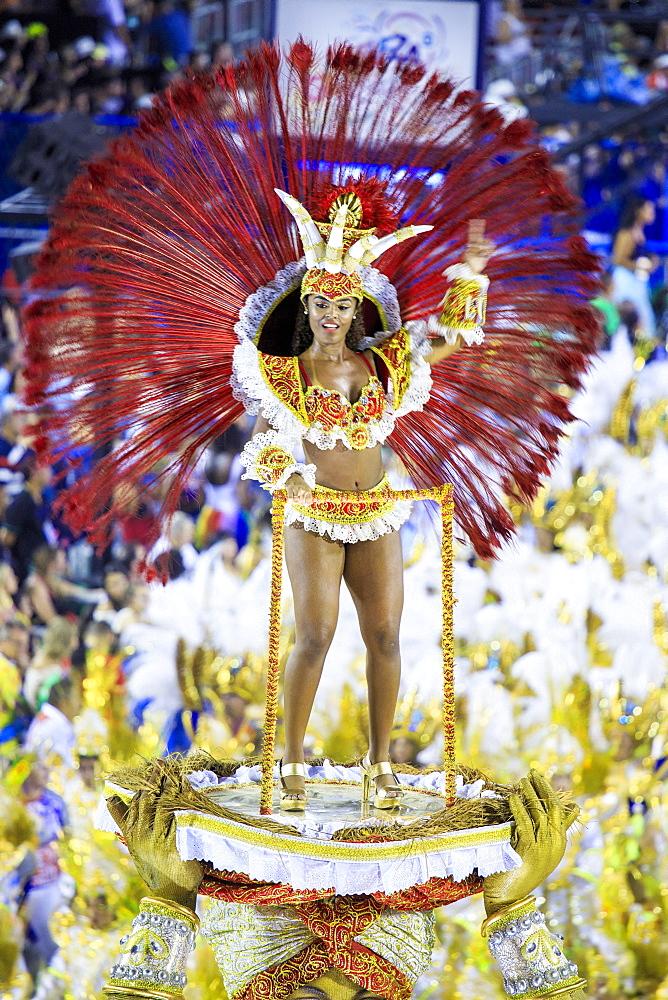 Dancers at the main Rio de Janeiro Carnival parade in the Sambadrome (Sambodromo) arena, Rio de Janeiro, Brazil, South America