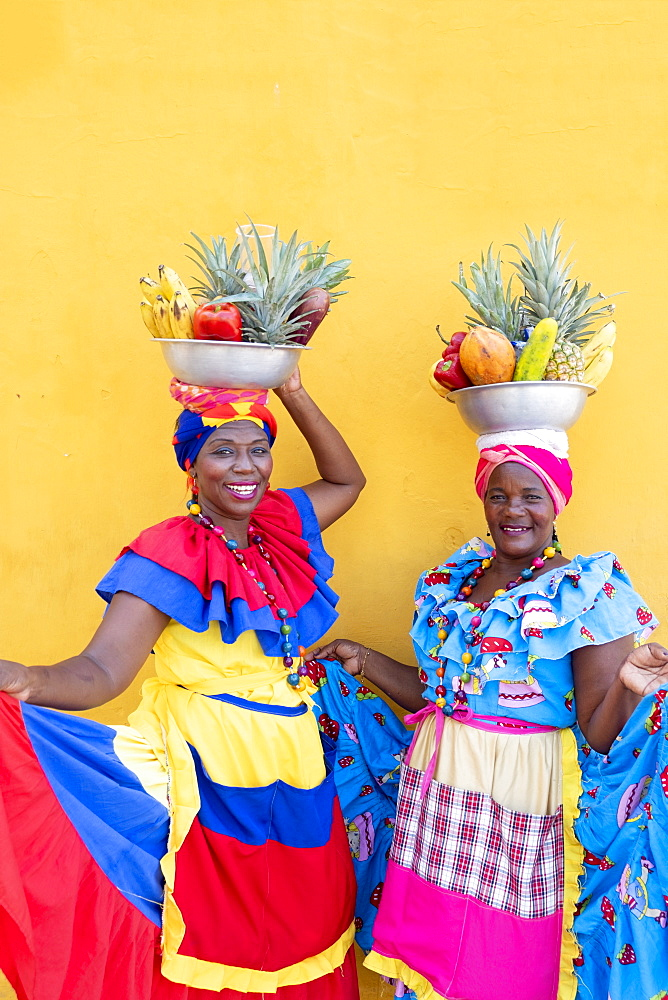 Palanquera women in Cartagena city, Colombia, South America