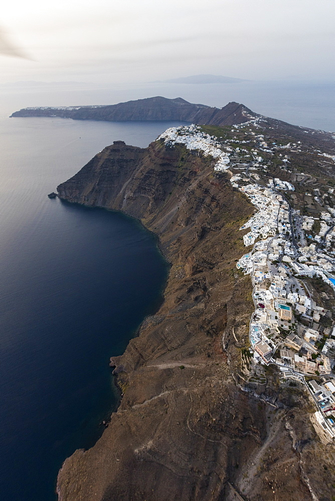 Aerial view of the old village of Firostefani, Santorini, Cyclades, Greek Islands, Greece, Europe