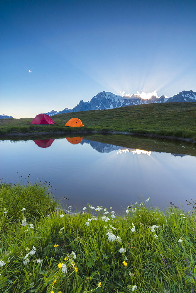 Camping tents in the green meadows surrounded by flowers and alpine lake Mont De La Saxe Courmayeur Aosta Valley Italy Europe