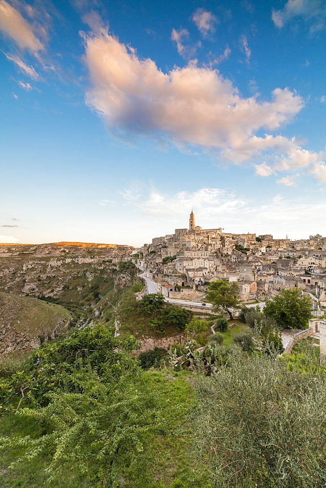 Sunset on the ancient town and historical center called Sassi perched on rocks on top of hill Matera Basilicata Italy Europe