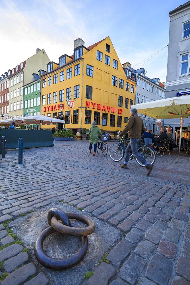 People walk in the pedestrian roads of the entertainment district of Nyhavn, Copenhagen, Denmark, Europe - 1179-2341