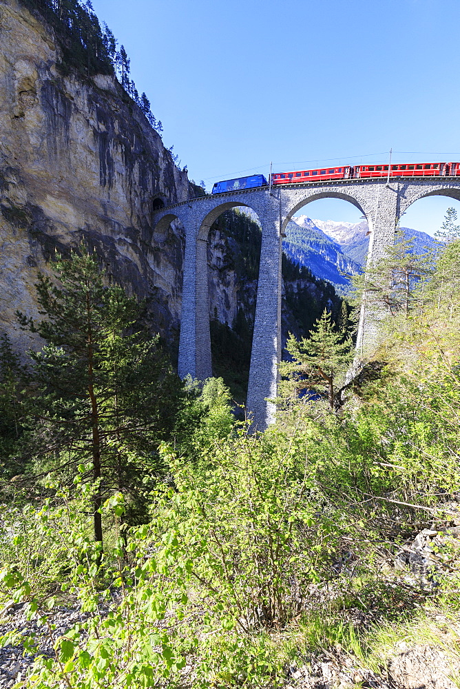 Bernina Express train on Landwasser Viadukt, UNESCO World Heritage Site, Filisur, Albula Region, Canton of Graubunden, Switzerland, Europe